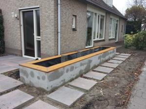 Open betonblokken tuin inklapbare picknicktafel tekening for Zelf zwembad bouwen betonblokken